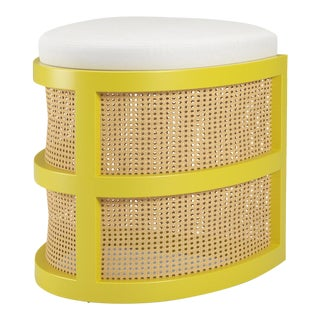 Isabella Demi Stool - Citron, Optic White Linen For Sale