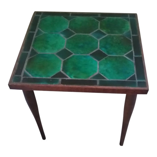 Mid Century Danish Tile Green Side Table - Image 1 of 7