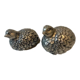 1970s Gucci Quail Silver Plate Over Pewter Salt and Pepper Shakers - a Pair For Sale