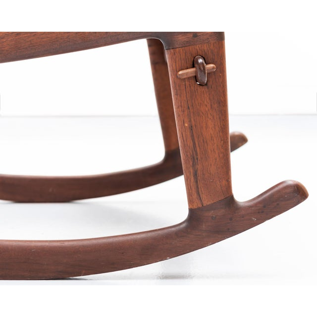 Animal Skin Rosewood and Leather Rocker by Angel Pazmino, Ecuador, 1960s For Sale - Image 7 of 9