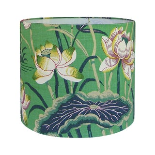 Medium Drum Lamp Shade, Made With Schumacher's Lotus Garden Fabric in Jade For Sale