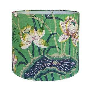 New, Made to Order, Medium Drum Lamp Shade, Schumacher Lotus Garden Jade Floral Fabric