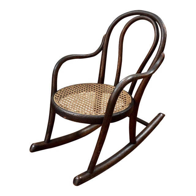 Late 20th Century Vintage Thonet Bentwood Childs Cane Set Rocker For Sale