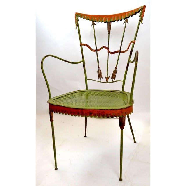 Hollywood Regency Pair of Tomaso Buzzi Wrought Iron Armchairs For Sale - Image 3 of 10