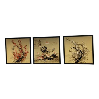 Original Chinese Oil Paintings on Canvas - Set of 3 For Sale