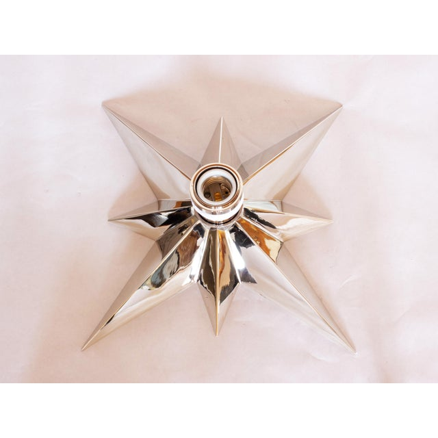 Modern Star Flush Mount Light Fixture in Polished Nickel For Sale - Image 3 of 6