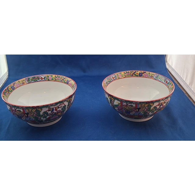Very attractive pair of Asian porcelain bowls by Behesti Super, Imari patterned. Decorative interior band and outer scene....