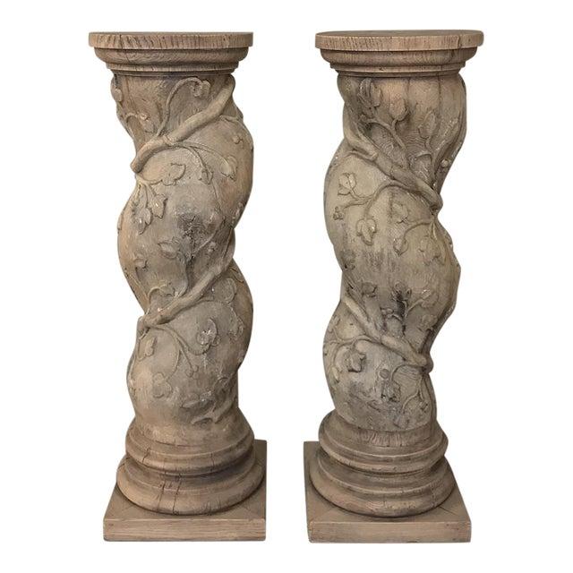 Pair 19th Century Barley Twist Stripped Pedestals For Sale