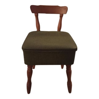 Vintage Vinyl Sewing Hassock Stool For Sale