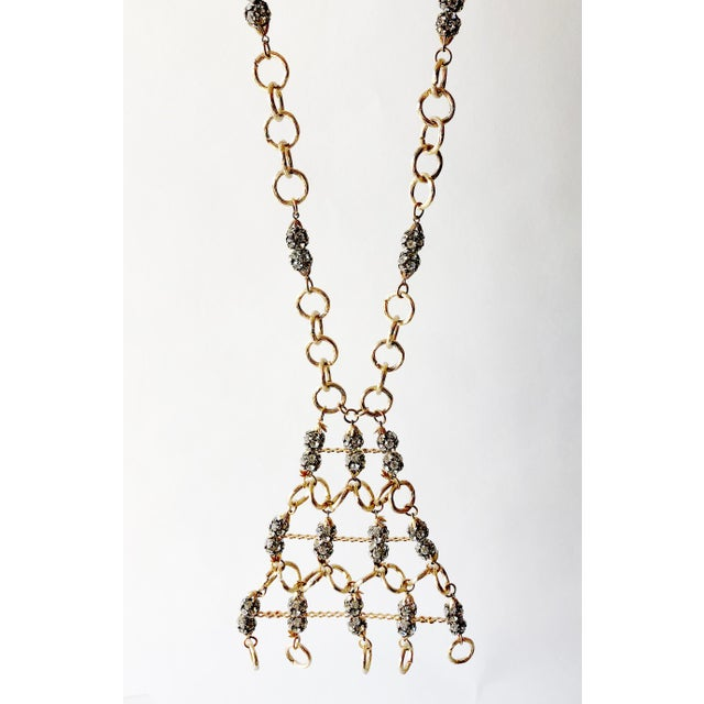 Mid-Century Modern 1960s Gold Toned Aluminum Rhinestone Statement Necklace For Sale - Image 3 of 5