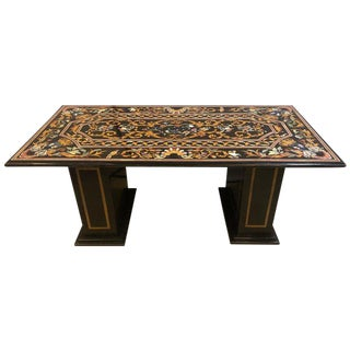 Monumental Pietra Dura Inlaid Center or Dining Table Top With Matching Base For Sale