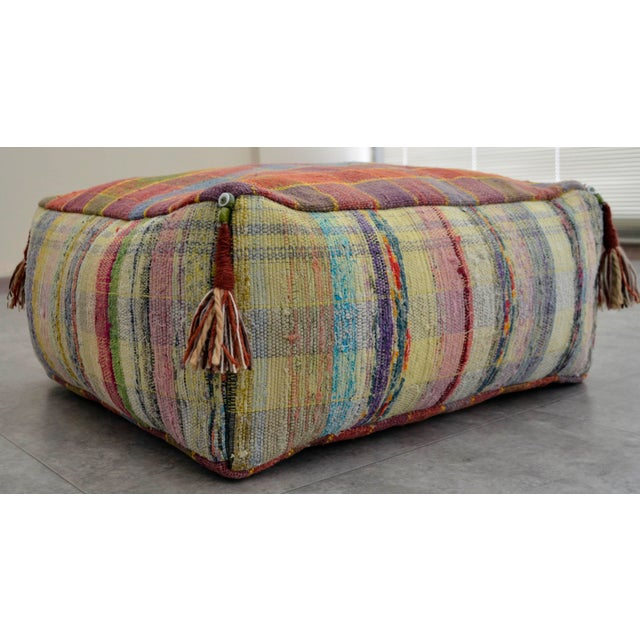 Hand Woven Kilim Floor Cushion Turkish Sitting Pillow- 22″ X 22″ - Image 3 of 8