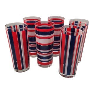 Oceans Red White and Blue Nautical Highball Glasses - Set of 6 For Sale