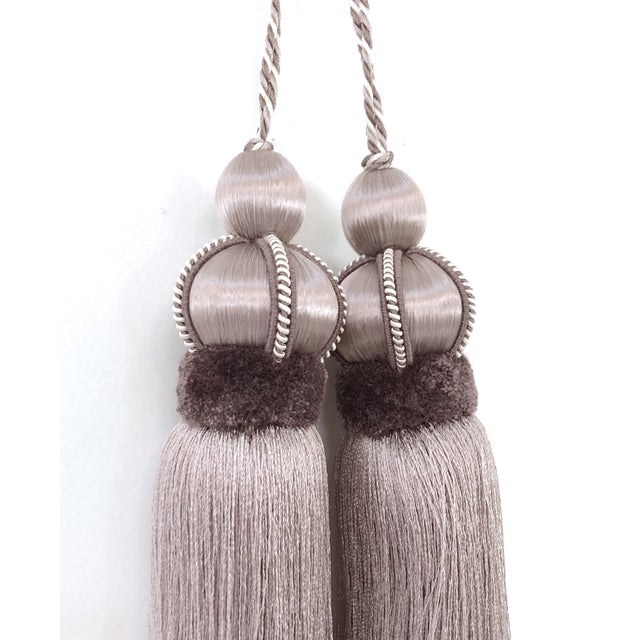 Lavender Key Tassel With Cut Velvet Ruche - a Pair For Sale - Image 11 of 12