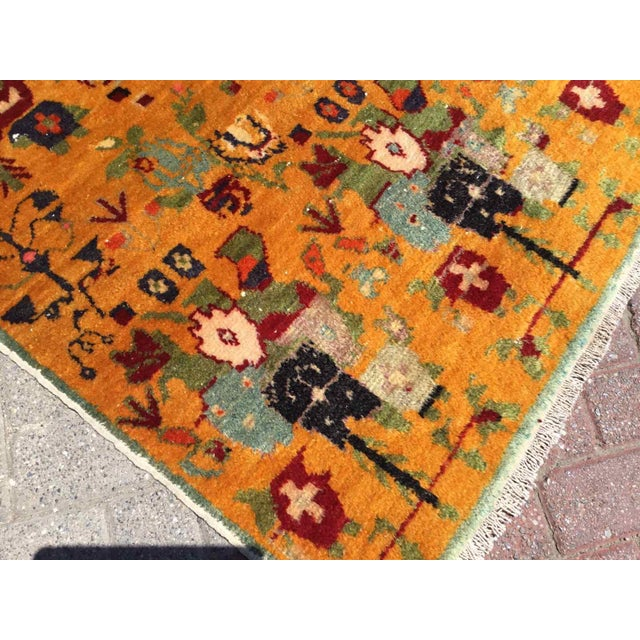 1960s Orange Vintage Hand Knotted Turkish Rug For Sale - Image 5 of 11