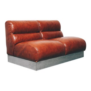 Vintage Leather and Chrome Loveseat For Sale