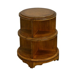 e.j. Victor Regency Style Round Burl Wood Revolving Bookcase For Sale