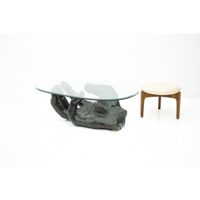 Sculptural Bronze Coffee Table in Form of a Hand Italy 1970s For Sale - Image 4 of 13