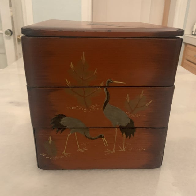 Japanese Vintage Japanese Lacquer Stacking Bento Box with Cranes, C 1940s For Sale - Image 3 of 13