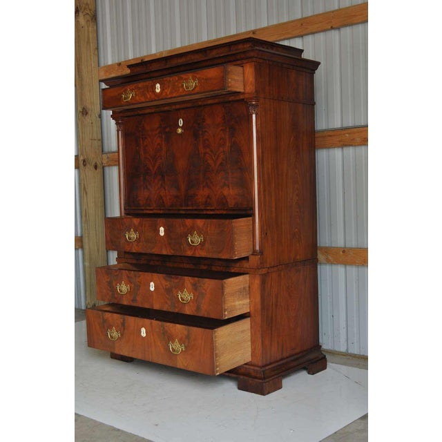 Brown 19th Century French Empire Flame Mahogany Drop Front Secretaire For Sale - Image 8 of 10