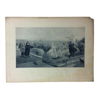 """Antique Photogravure on Paper, """"On the Pier"""" from D. Appleton & Co - Circa 1860 For Sale"""
