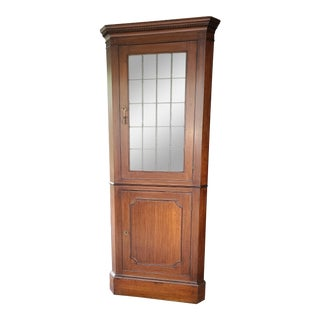 Antique Wooden Display Corner Cabinet For Sale