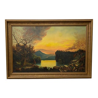 19th Century Hudson River School Landscape W/ Native American Encampment For Sale