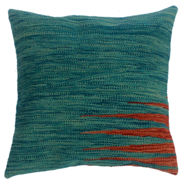 "Destiny Blue/Rust Hand-Woven Kilim Throw Pillow(18""x18"") For Sale In New York - Image 6 of 6"