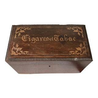 Art Nouveau French Cigar & Tobacco Wooden Marquetry Box