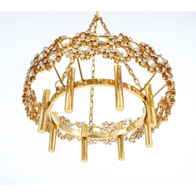 Large Gilt Brass and Glass Chandelier Lamp, Palwa circa 1960 For Sale - Image 6 of 8