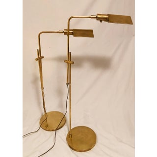 1980s Vintage Mid Century Omi Brass Adjustable Floor Lamps - a Pair Preview