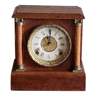 Antique Sessions Early American 8 Day Cathedral Gong Oak Mantle Clock For Sale