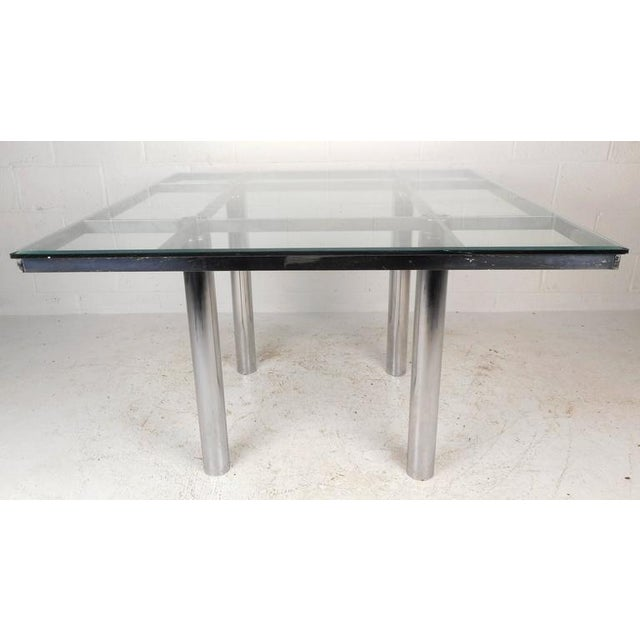 0e3c31748b66 Mid-Century Modern Chrome and Glass Dining Table For Sale - Image 4 of 10