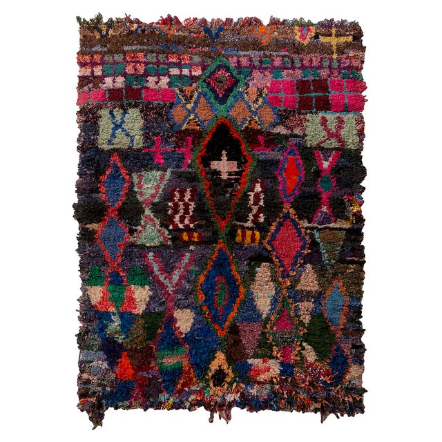 Vintage Moroccan Berber Geometric Red Blue and Black Fabric Tribal Rug For Sale In New York - Image 6 of 6