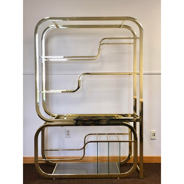 We are very pleased to offer an iconic, always chic, brass etagere designed by Milo Baughman for the Design Institute of...