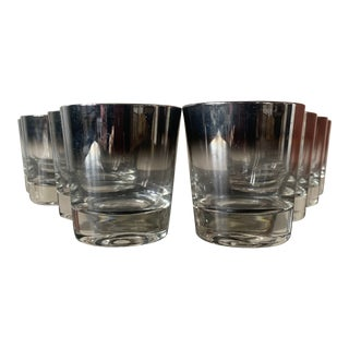 1960s Silver Rimmed Old Fashioned Cocktail Glasses - Set of 8 For Sale