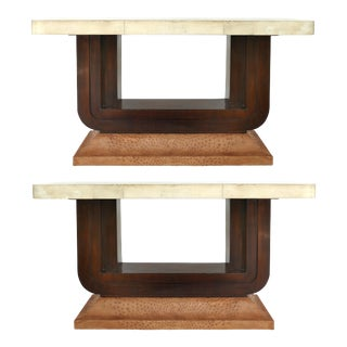 Art Deco Goatskin and Ostrich Clad Console Tables - a Pair For Sale