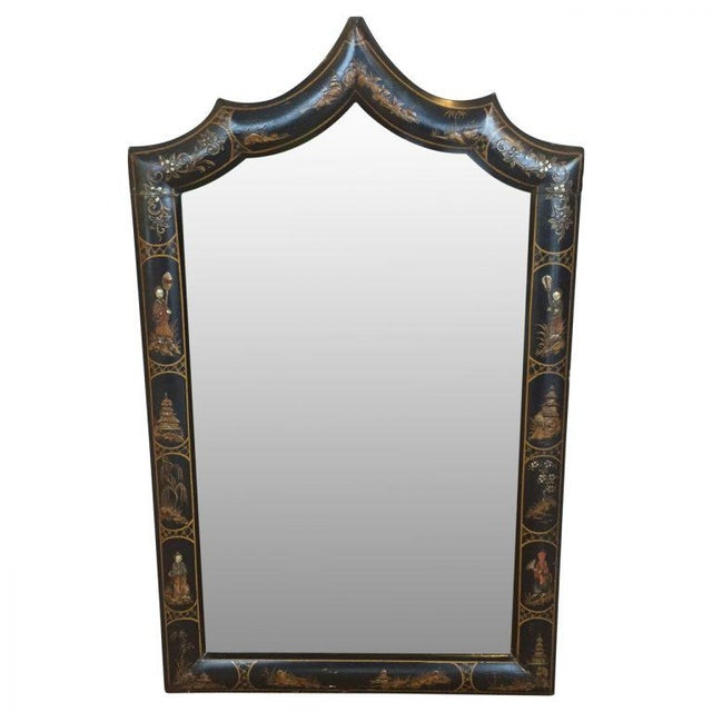 19th century English Chinoiserie decorated mirror in excellent antique condition.