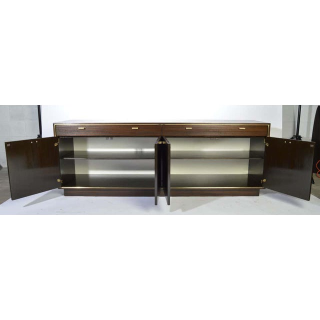 1950s Harvey Probber Credenza in Dark Mahogany Having Brass Embellishments Throughout For Sale - Image 5 of 8