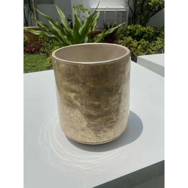 Wonderful mid century modern Vase the form is art deco style and the Capis shell is in very good condition