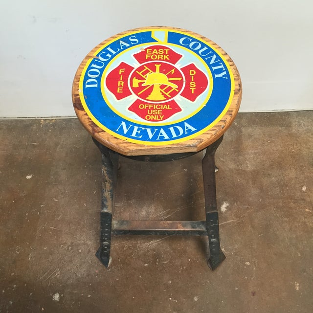 Vintage Industrial Firehouse Stool - Image 9 of 9