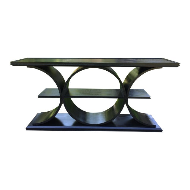 Asian Modern Vanguard Furniture Black Entertainment Console Table For Sale