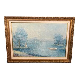 Signed by Artist Impressionistic Pastel Gilt Framed Large Painting For Sale