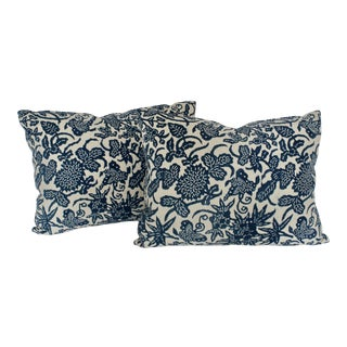 French Blue Floral/Fauna Block Print Pillows - a Pair For Sale