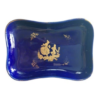 1950s Blue and Gold Miniature Tray For Sale