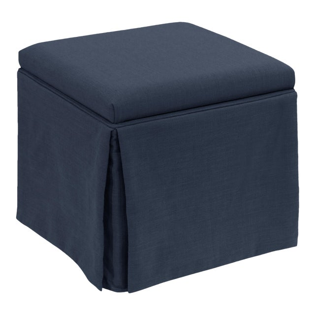 Skirted Storage Ottoman in Linen Navy For Sale