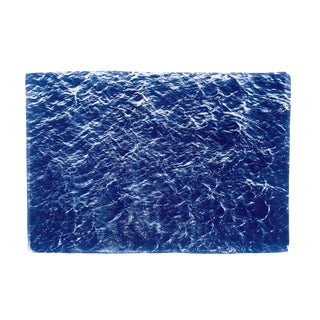 """100x70 Cm, Handprinted Cyanotype Print """"Waves Sea Texture"""" on Watercolor Paper. Limited Edition For Sale"""