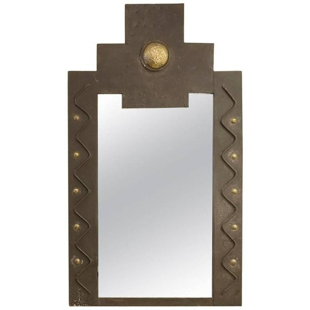 French Metal Brutalist Wall Mirror with Gilt Detail - Image 3 of 3