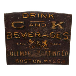 1900s Drink Coleman & Keating Co Beverage Handpainted Wood Sign For Sale