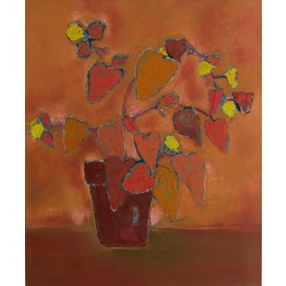 "Abstract Floral Painting Oil on Canvas by Bill Tansey ""Terra Cotta"" For Sale"